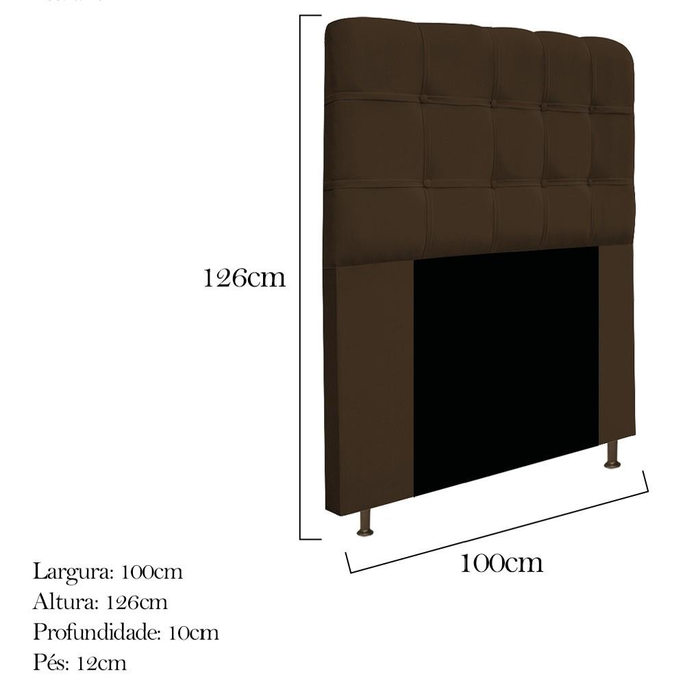 Cabeceira Estofada Mel 100 cm Solteiro Com Botonê Suede Marrom - ADJ Decor