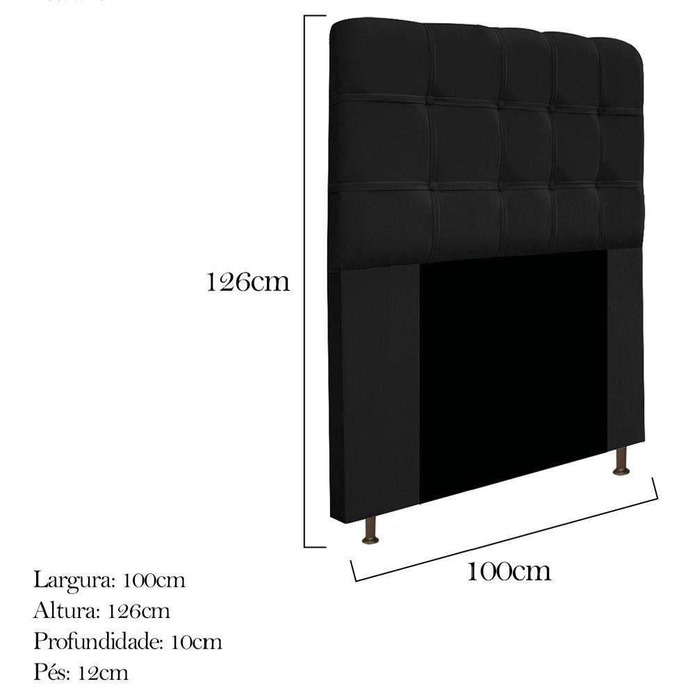 Cabeceira Estofada Mel 100 cm Solteiro Com Botonê Suede Preto - ADJ Decor