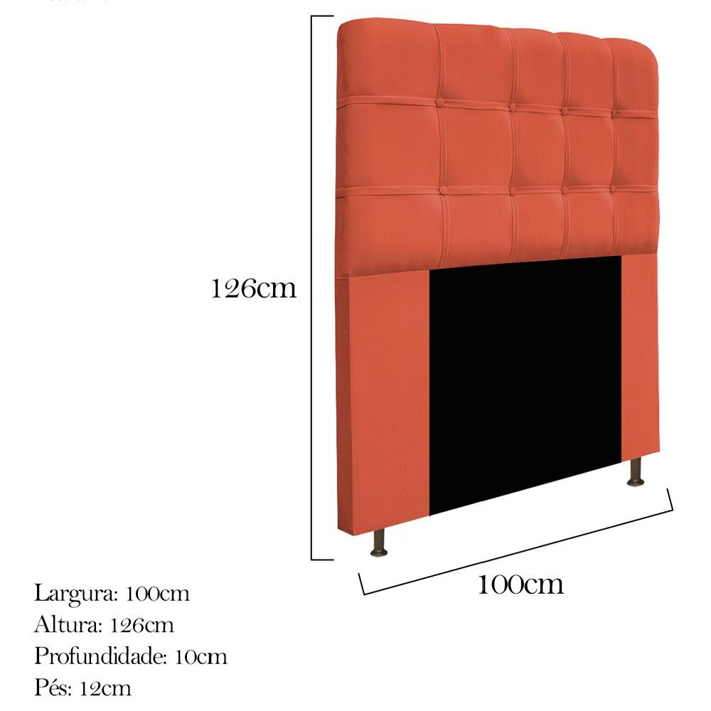 Cabeceira Estofada Mel 100 cm Solteiro Com Botonê Suede Terracota - ADJ Decor