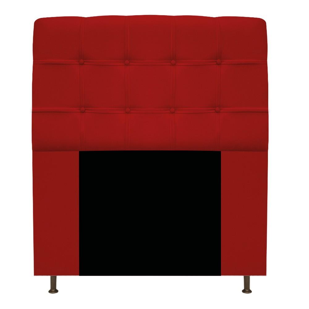 Cabeceira Estofada Mel 100 cm Solteiro Com Botonê Suede Vermelho - ADJ Decor