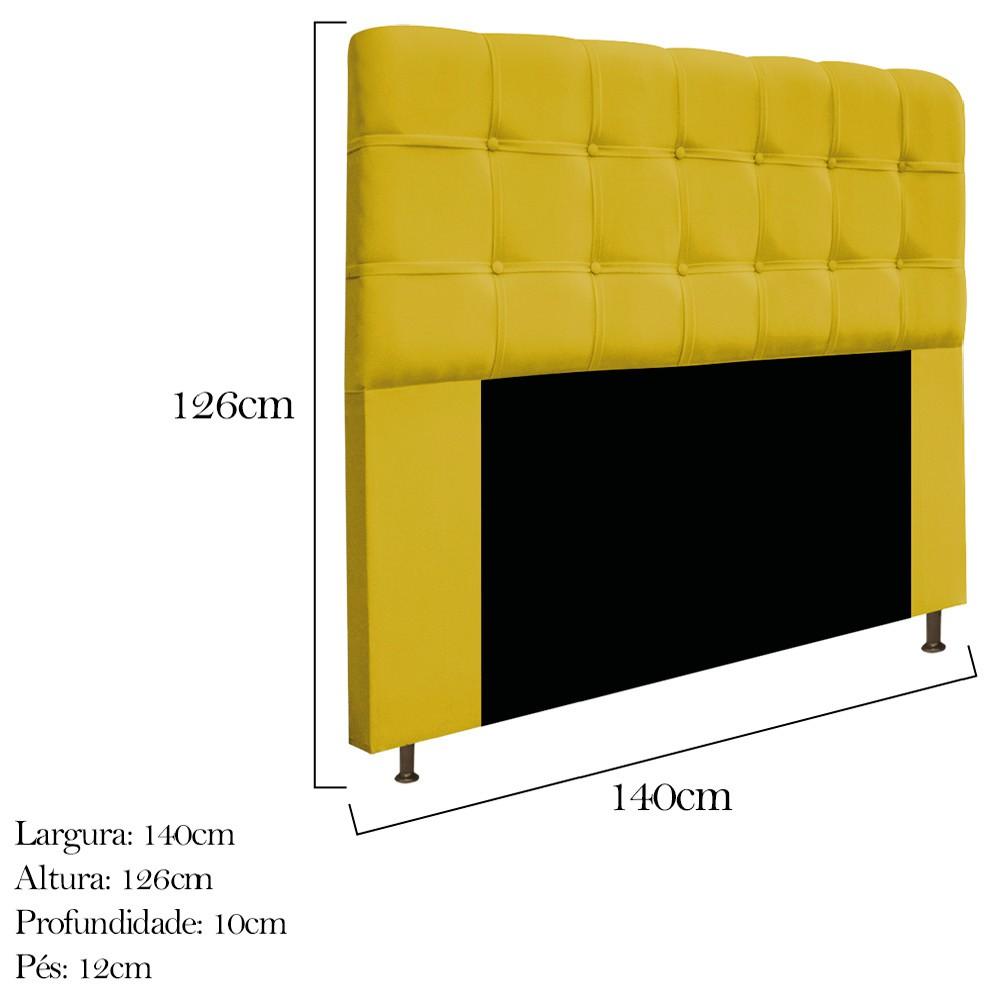 Cabeceira Estofada Mel 140 cm Casal Com Botonê  Suede Amarelo - ADJ Decor