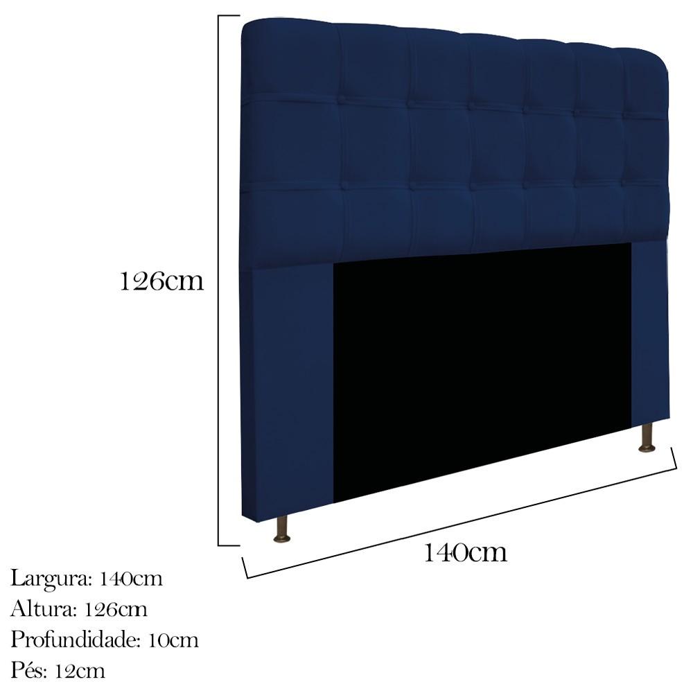 Cabeceira Estofada Mel 140 cm Casal Com Botonê  Suede Azul Marinho - ADJ Decor