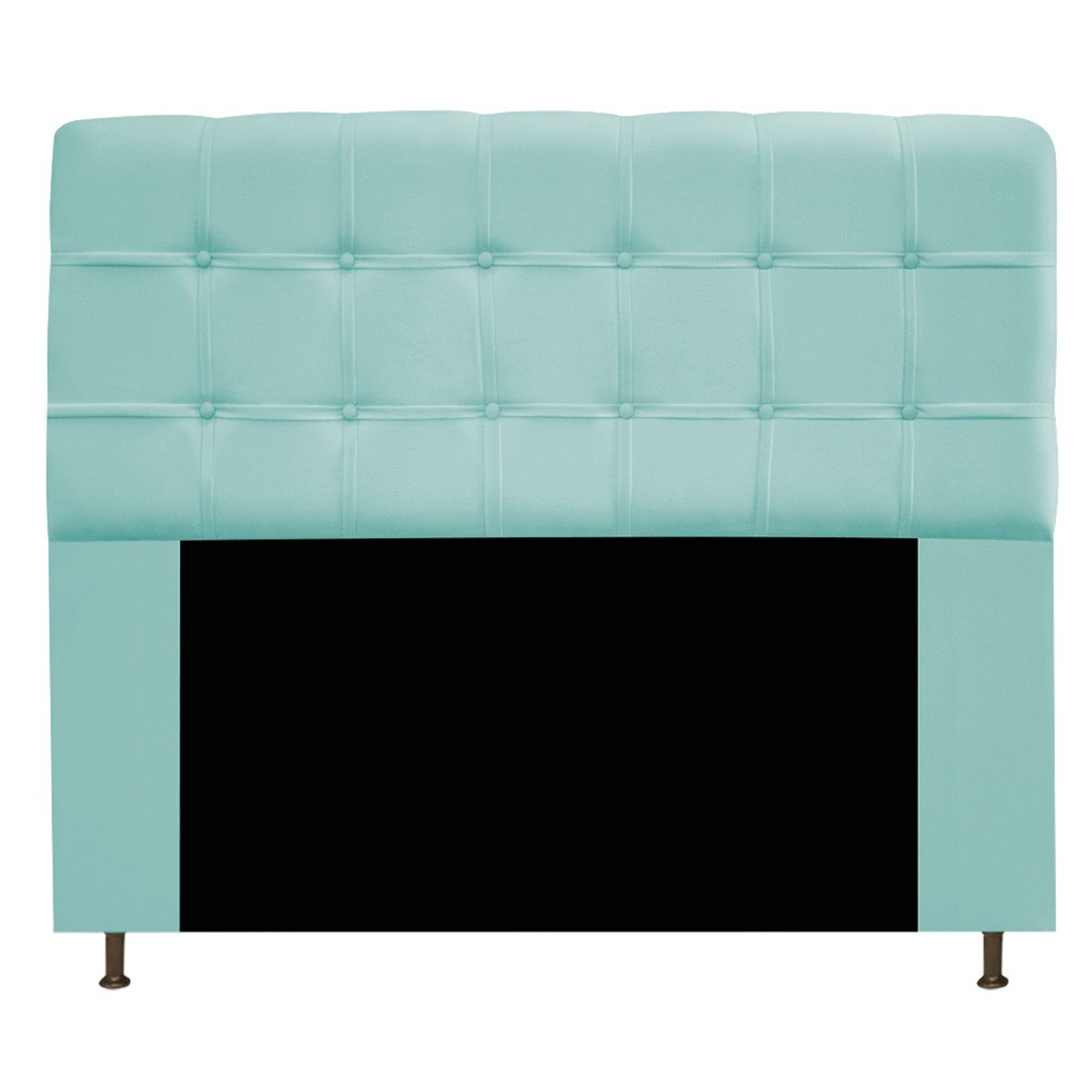 Cabeceira Estofada Mel 140 cm Casal Com Botonê  Suede Azul Tiffany - ADJ Decor