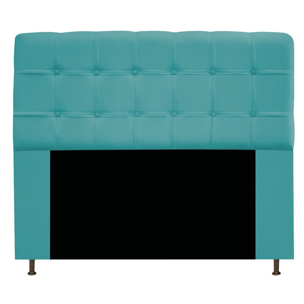 Cabeceira Estofada Mel 140 cm Casal Com Botonê  Suede Azul Turquesa - ADJ Decor