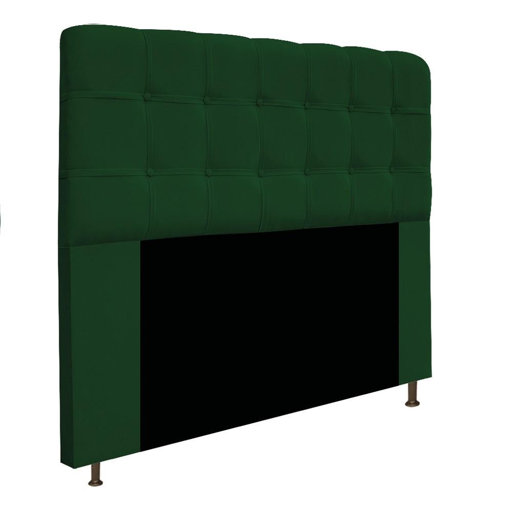 Cabeceira Estofada Mel 140 cm Casal Com Botonê  Suede Verde - ADJ Decor