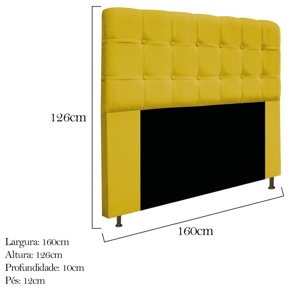 Cabeceira Estofada Mel 160 cm Queen Size Com Botonê Suede Amarelo - ADJ Decor