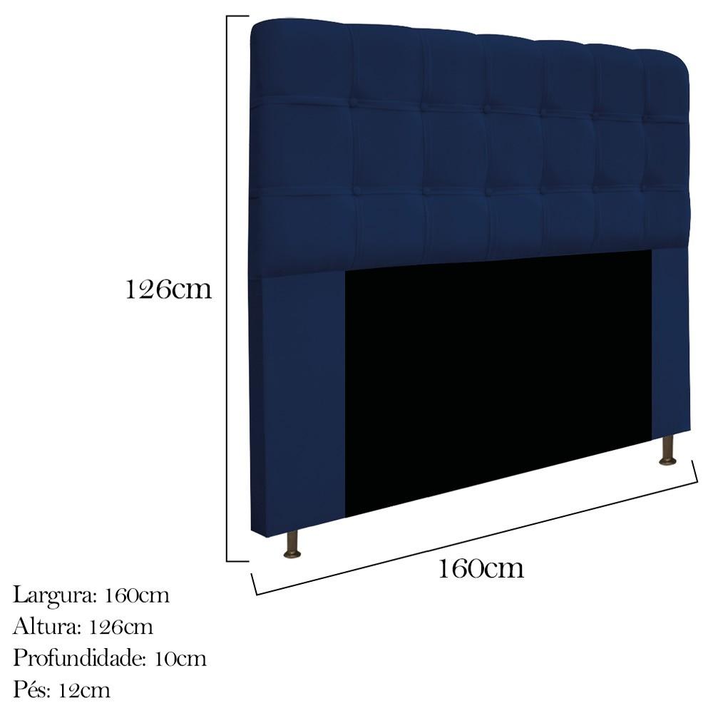 Cabeceira Estofada Mel 160 cm Queen Size Com Botonê Suede Azul Marinho - ADJ Decor