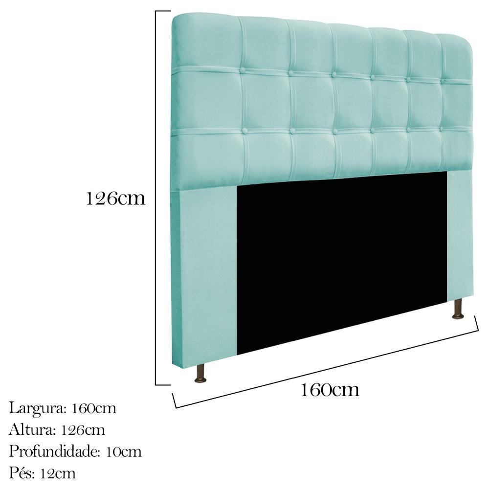 Cabeceira Estofada Mel 160 cm Queen Size Com Botonê Suede Azul Tiffany - ADJ Decor