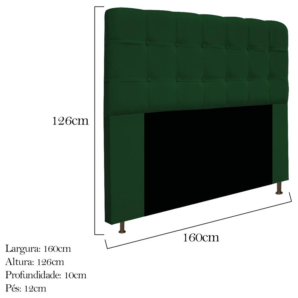 Cabeceira Estofada Mel 160 cm Queen Size Com Botonê Suede Verde - ADJ Decor