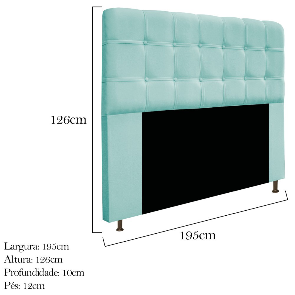 Cabeceira Estofada Mel 195 cm King Size Com Botonê Suede Azul Tiffany - ADJ Decor
