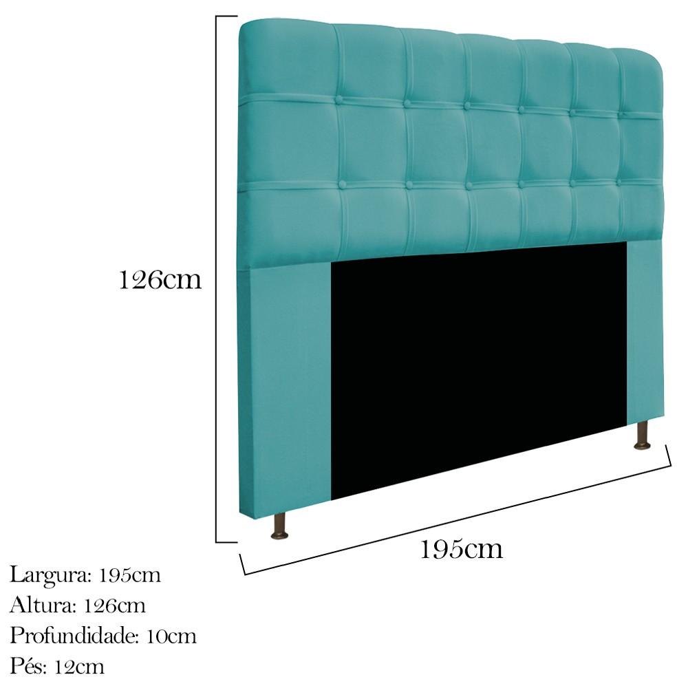 Cabeceira Estofada Mel 195 cm King Size Com Botonê Suede Azul Turquesa - ADJ Decor