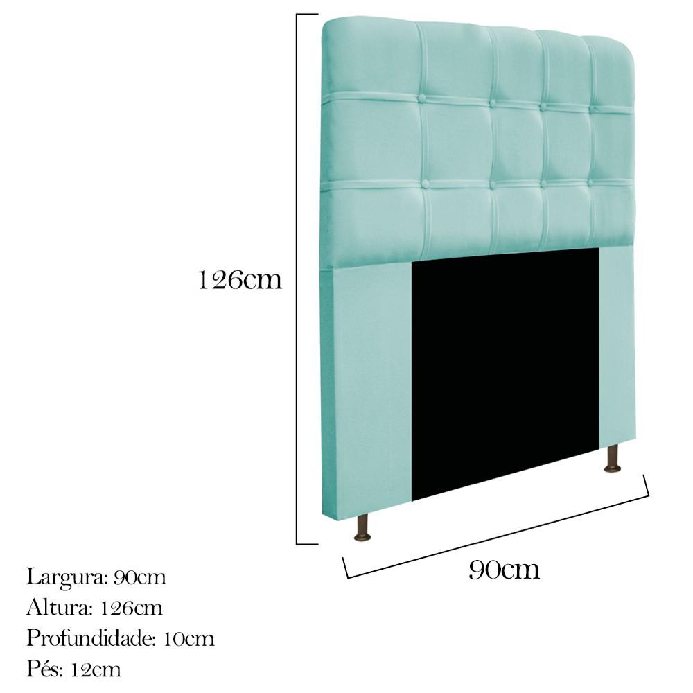 Cabeceira Estofada Mel 90 cm Solteiro Com Botonê  Suede Azul Tiffany - ADJ Decor