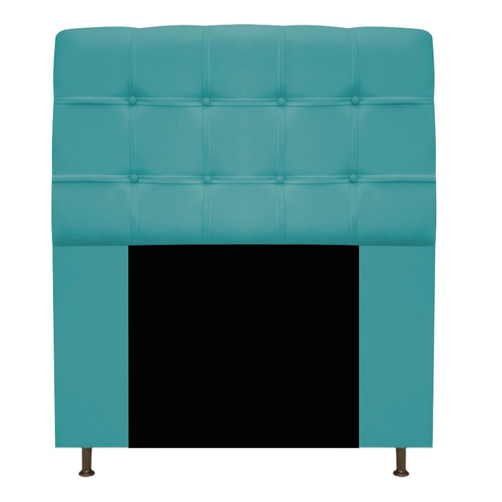 Cabeceira Estofada Mel 90 cm Solteiro Com Botonê  Suede Azul Turquesa - ADJ Decor