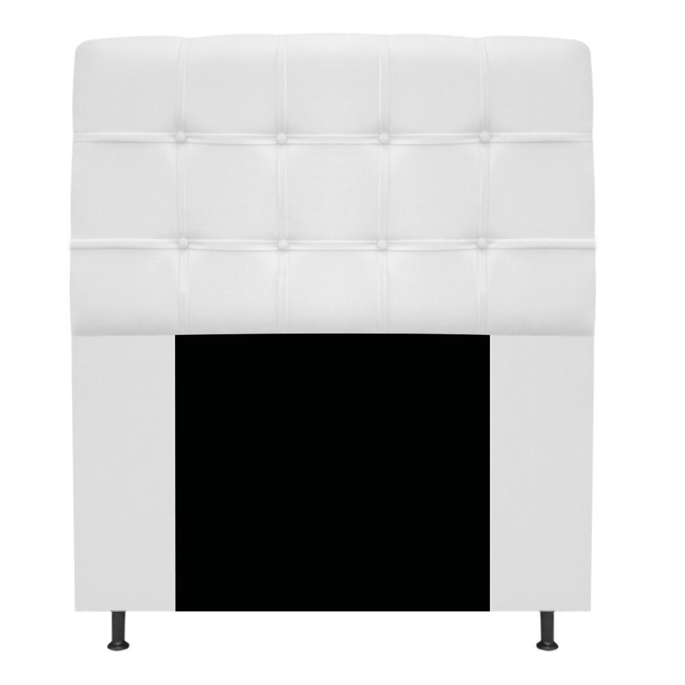 Cabeceira Estofada Mel 90 cm Solteiro Com Botonê  Suede Branco - ADJ Decor