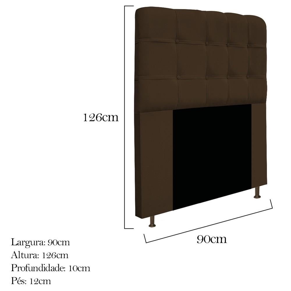 Cabeceira Estofada Mel 90 cm Solteiro Com Botonê  Suede Marrom - ADJ Decor