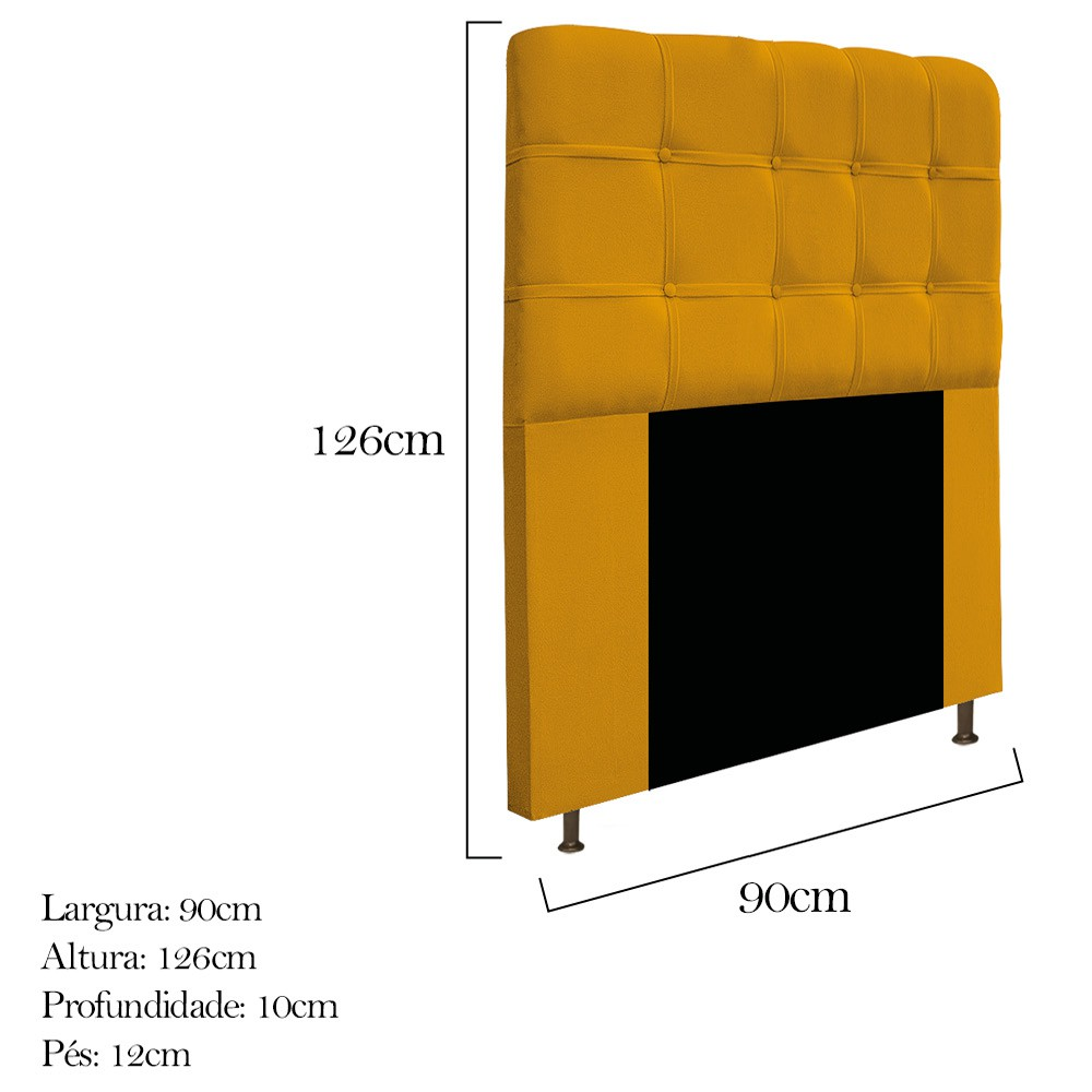 Cabeceira Estofada Mel 90 cm Solteiro Com Botonê  Suede Mostarda - ADJ Decor