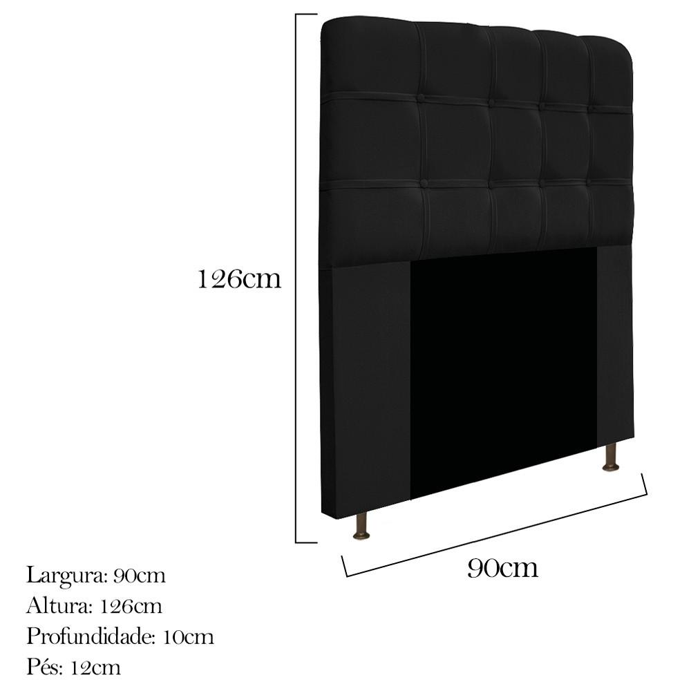 Cabeceira Estofada Mel 90 cm Solteiro Com Botonê  Suede Preto - ADJ Decor