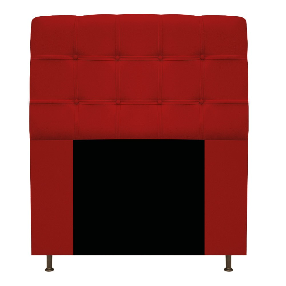 Cabeceira Estofada Mel 90 cm Solteiro Com Botonê Suede Vermelho - ADJ Decor