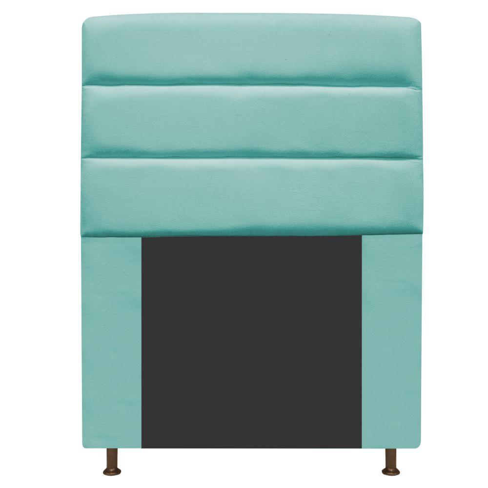 Cabeceira Estofada Turim 100 cm Solteiro Suede Azul Tiffany - ADJ Decor