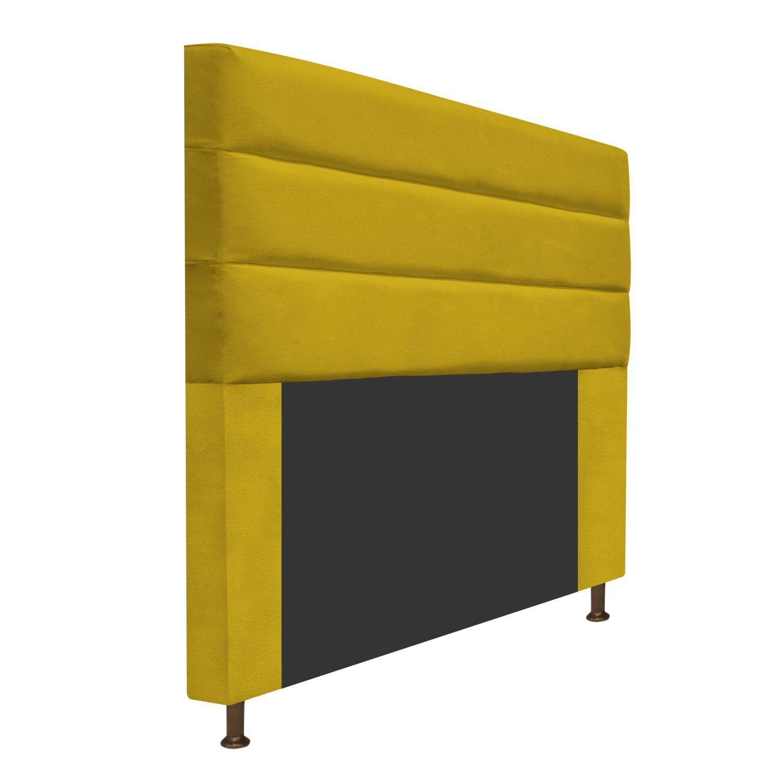 Cabeceira Estofada Turim 140 cm Casal  Suede Amarelo - ADJ Decor