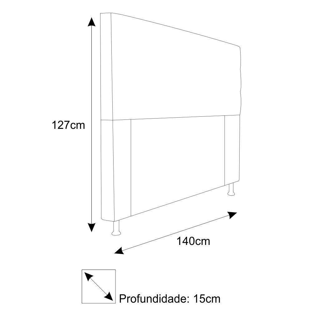 Cabeceira Estofada Turim 140 cm Casal  Suede Branco - ADJ Decor