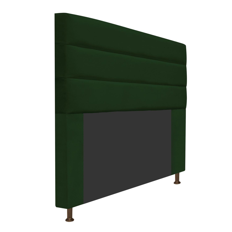 Cabeceira Estofada Turim 140 cm Casal  Suede Verde - ADJ Decor