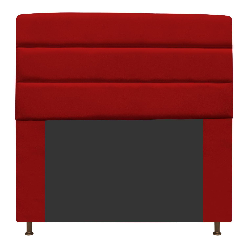 Cabeceira Estofada Turim 140 cm Casal  Suede Vermelho - ADJ Decor