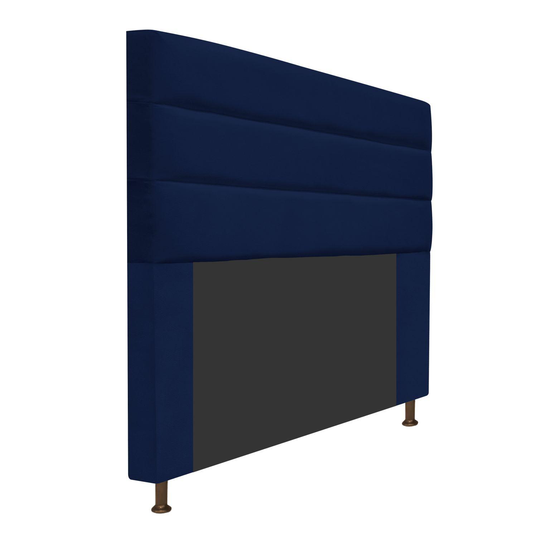 Cabeceira Estofada Turim 160 cm Queen Size Suede Azul Marinho - ADJ Decor