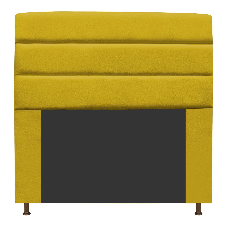 Cabeceira Estofada Turim 195 cm King Size Suede Amarelo - ADJ Decor