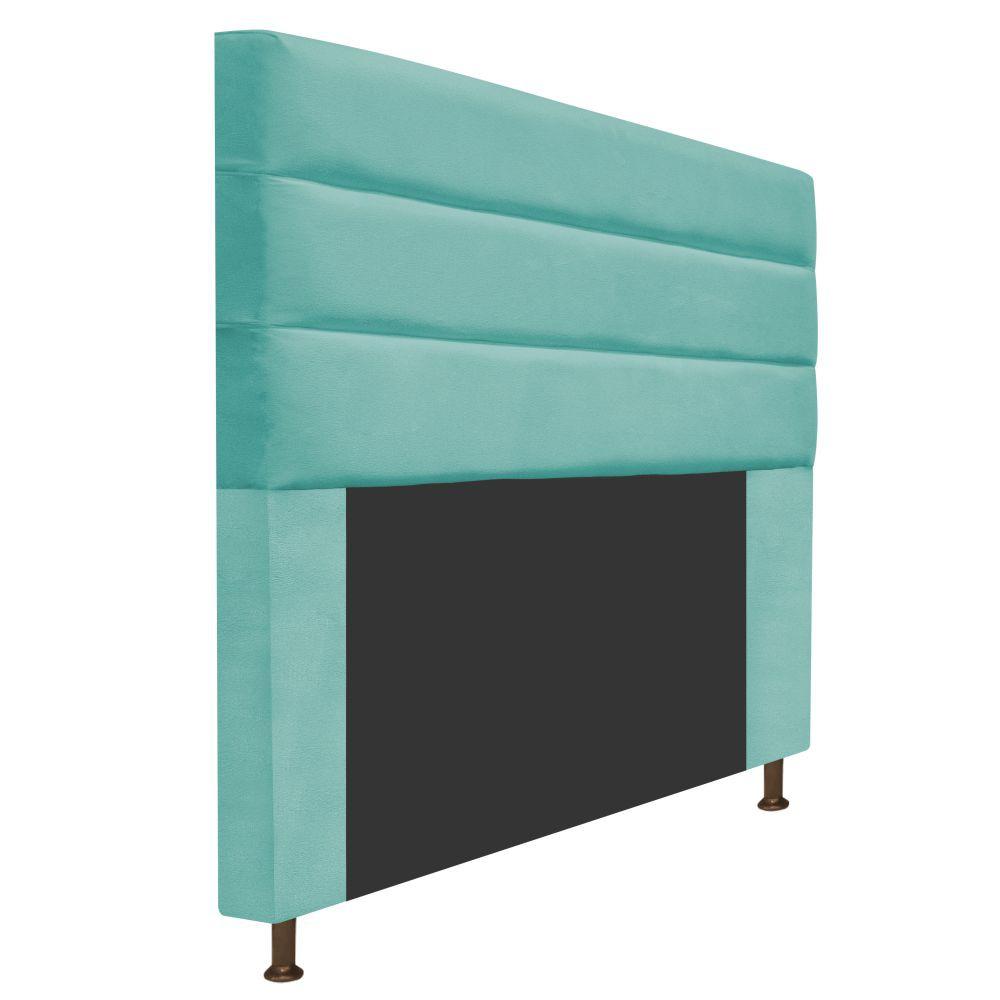 Cabeceira Estofada Turim 195 cm King Size Suede Azul Tiffany - ADJ Decor
