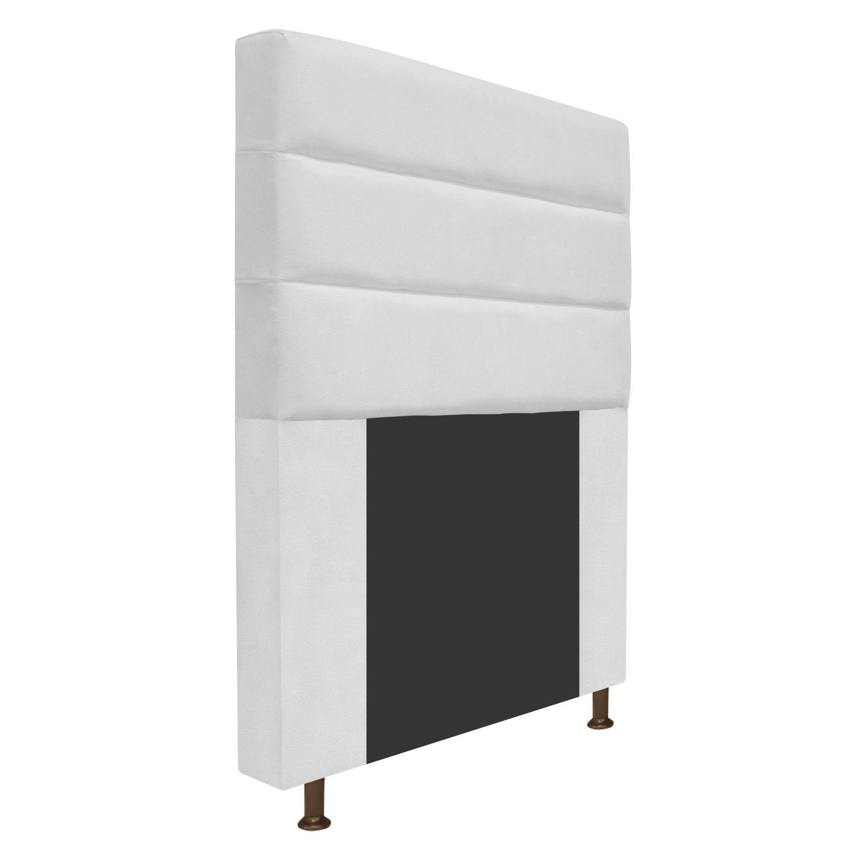 Cabeceira Estofada Turim 90 cm Solteiro  Suede Branco - ADJ Decor