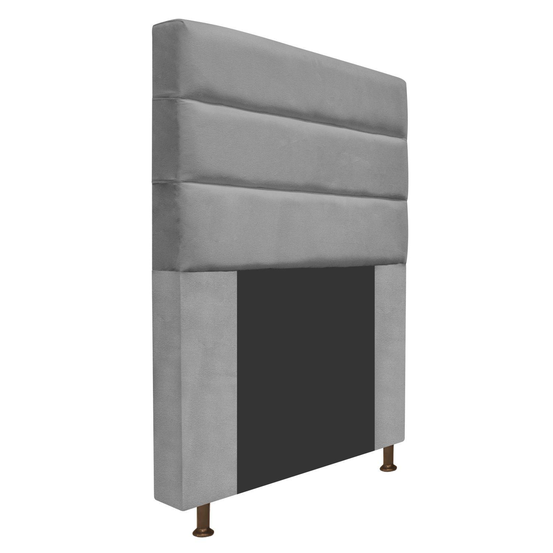 Cabeceira Estofada Turim 90 cm Solteiro  Suede Cinza - ADJ Decor