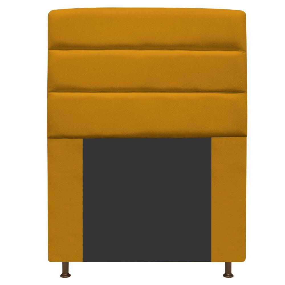 Cabeceira Estofada Turim 90 cm Solteiro  Suede Mostarda - ADJ Decor