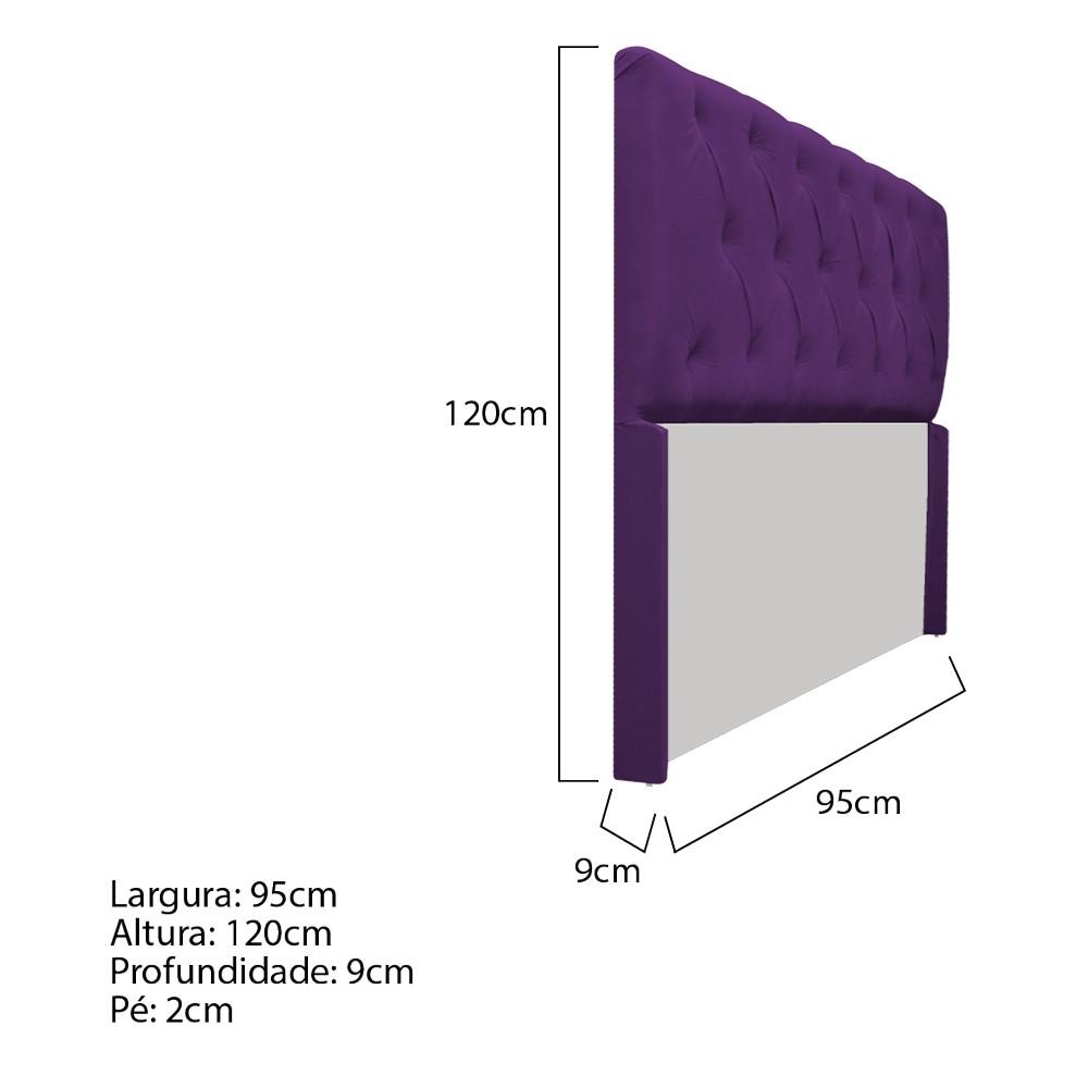 Cabeceira Lara 90 cm Solteiro Suede Roxo - ADJ Decor