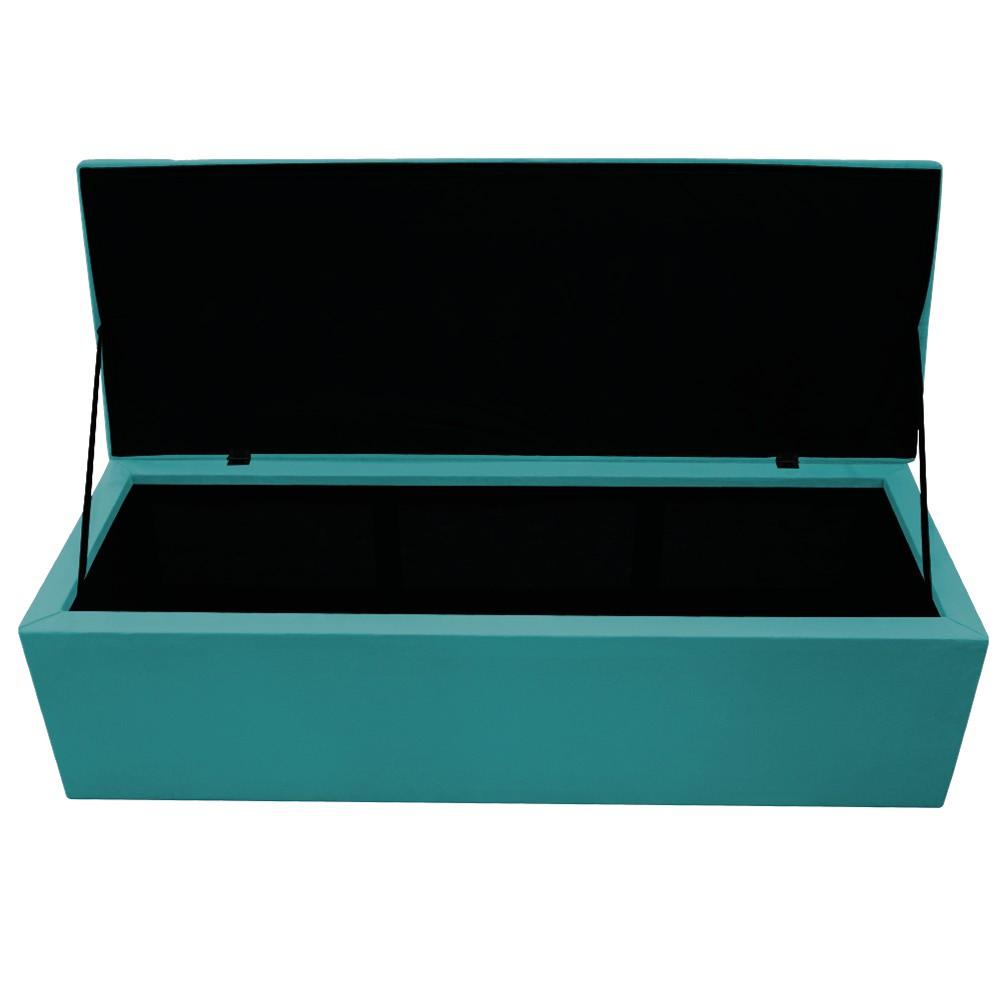 Recamier Baú Estofada Mel 160 cm Queen Size Com Capitonê Suede Azul Turquesa - ADJ Decor