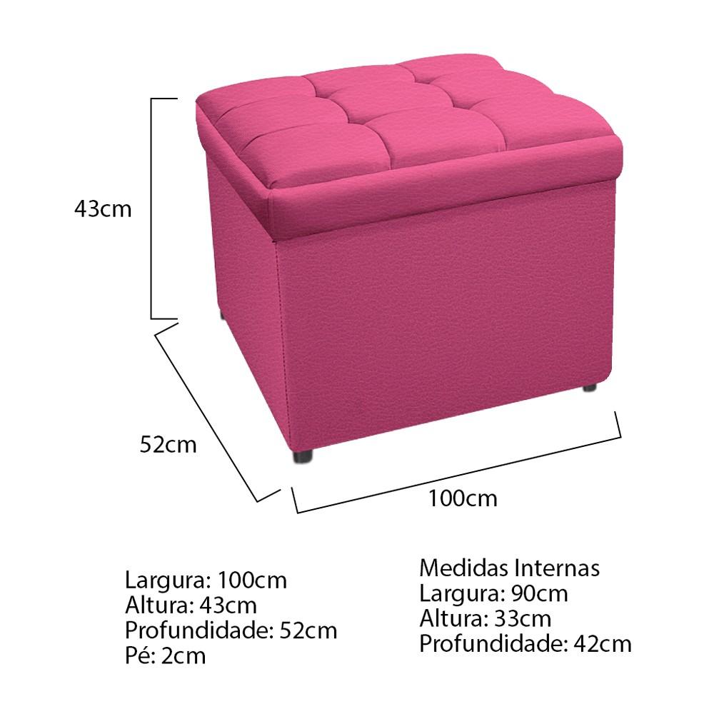 Calçadeira Copenhague 100 cm Solteiro Corano Pink - ADJ Decor