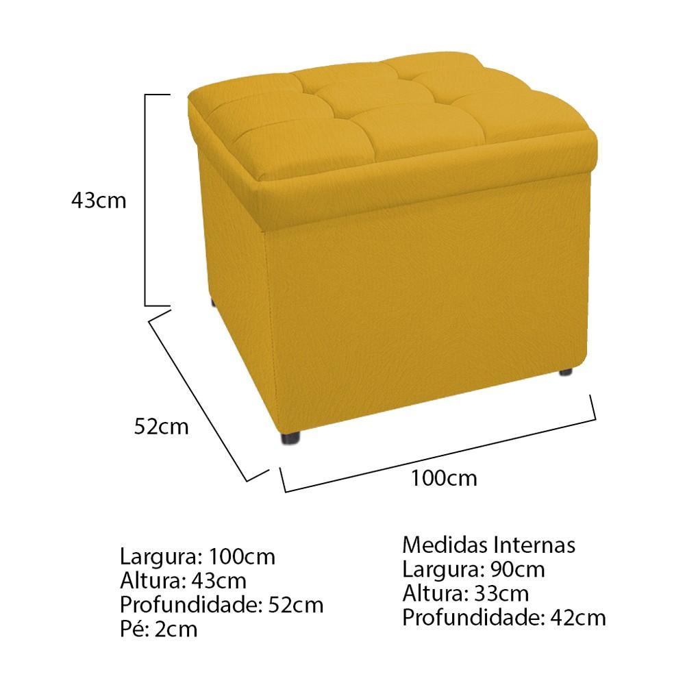 Calçadeira Copenhague 100 cm Solteiro Suede Amarelo - ADJ Decor