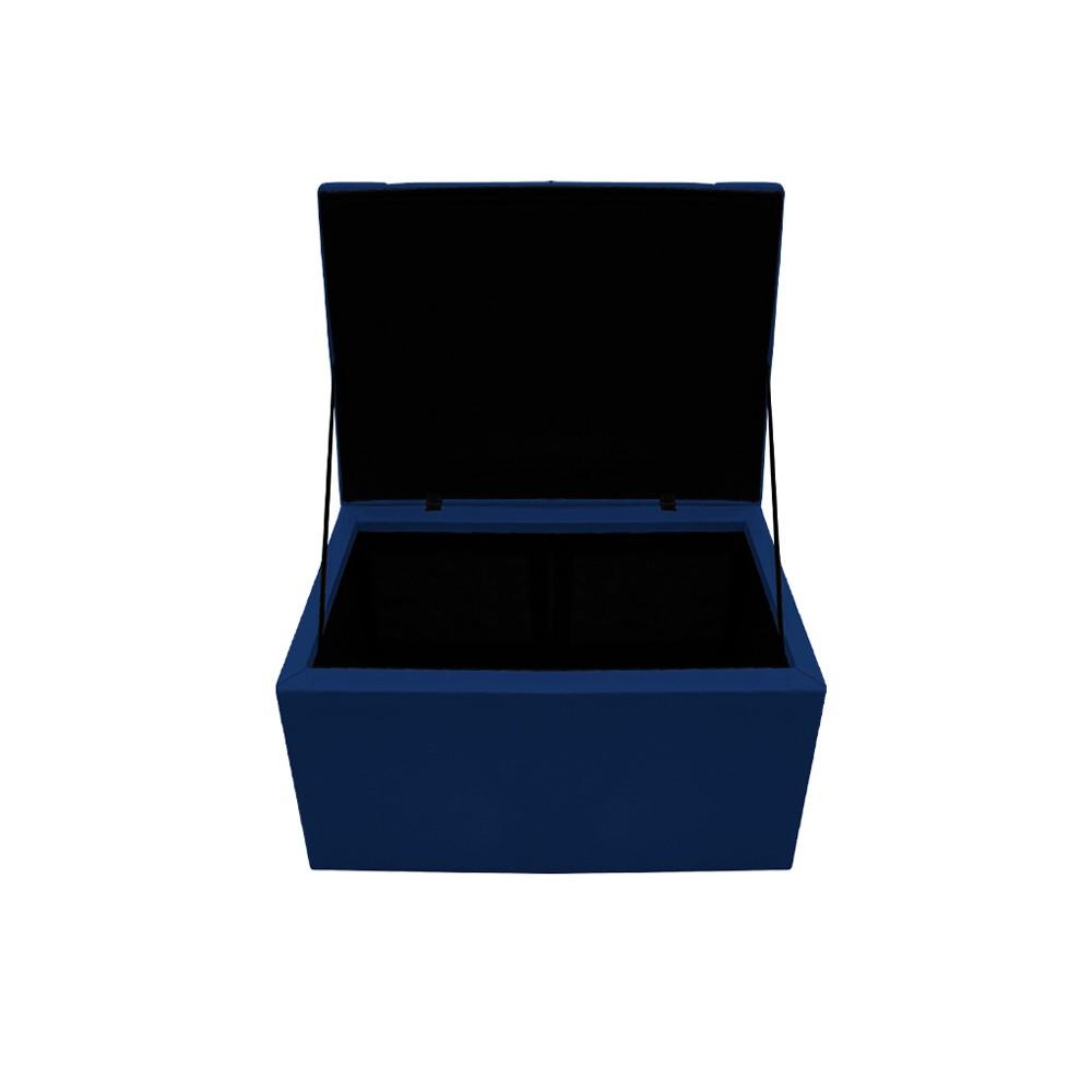 Calçadeira Copenhague 100 cm Solteiro Suede Azul Marinho - ADJ Decor