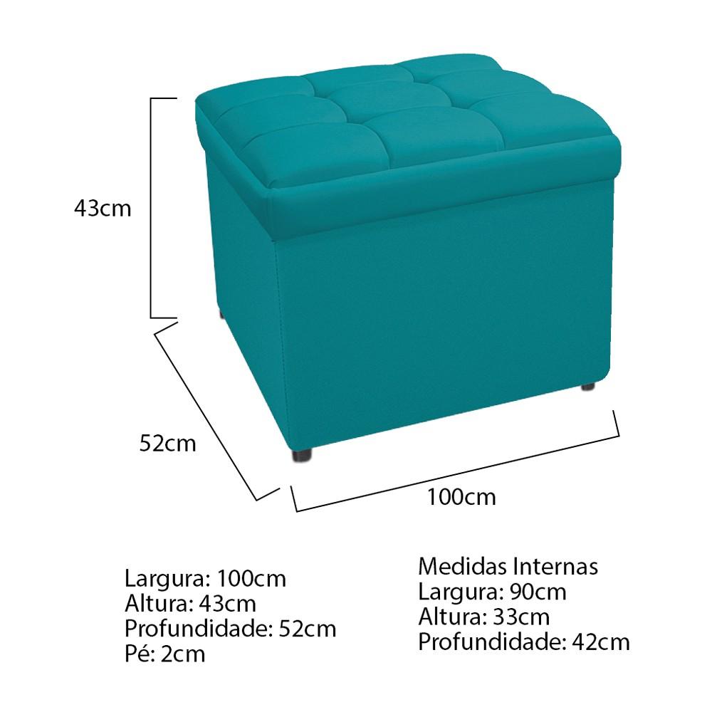 Calçadeira Copenhague 100 cm Solteiro Suede Azul Turquesa - ADJ Decor