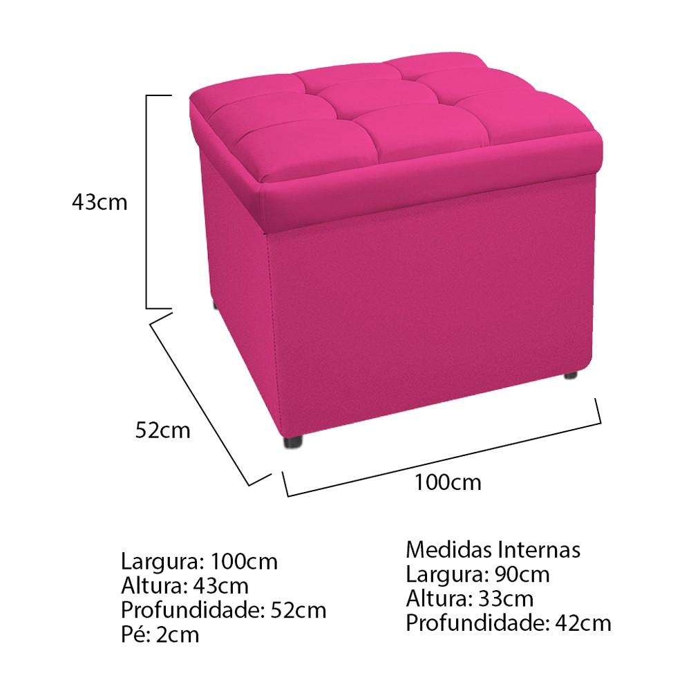 Calçadeira Copenhague 100 cm Solteiro Suede Pink - ADJ Decor