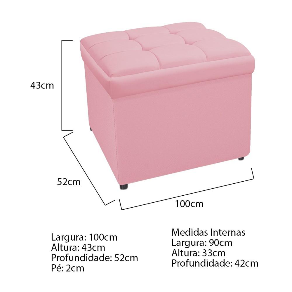 Calçadeira Copenhague 100 cm Solteiro Suede Rosa Bebê - ADJ Decor