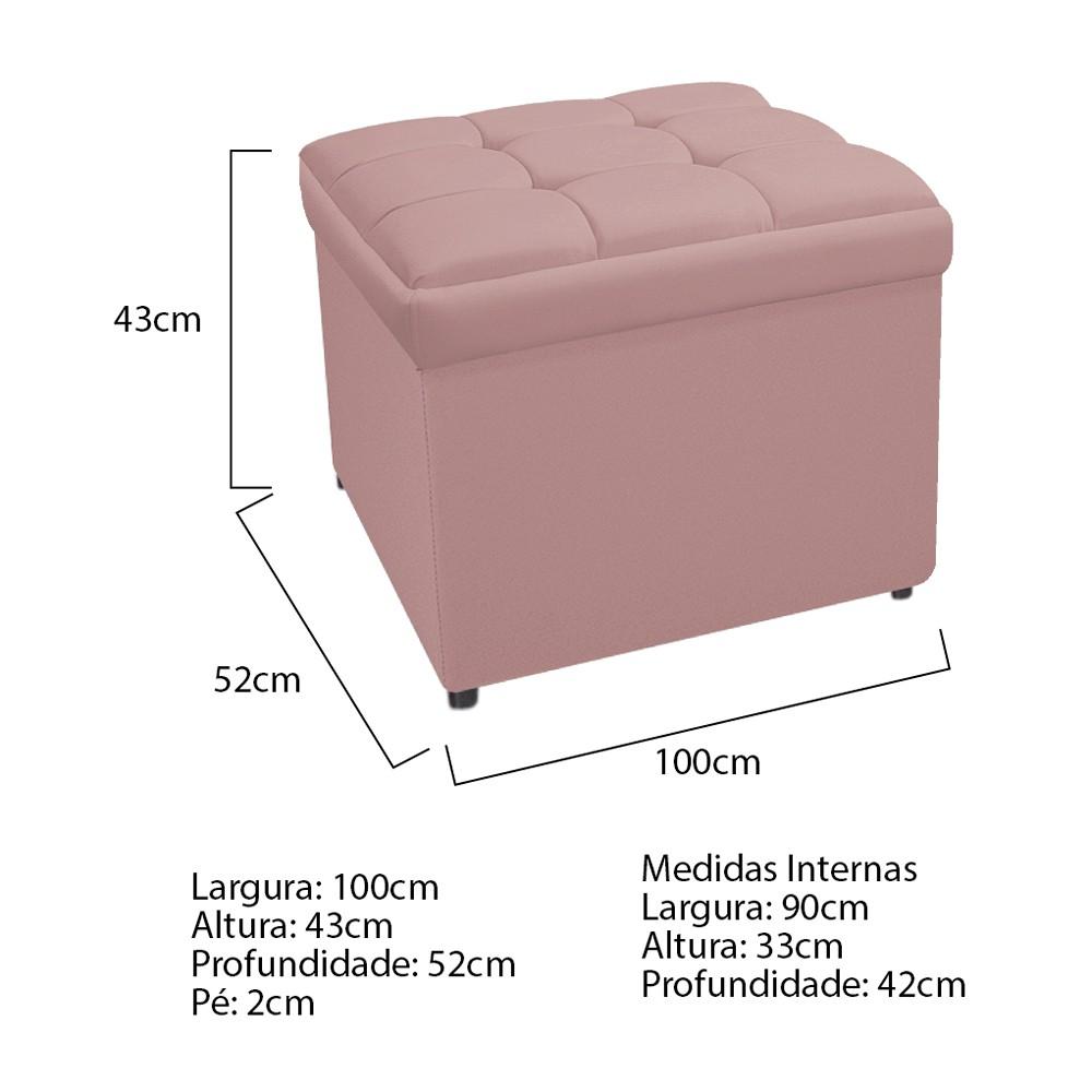 Calçadeira Copenhague 100 cm Solteiro Suede Rosê - ADJ Decor