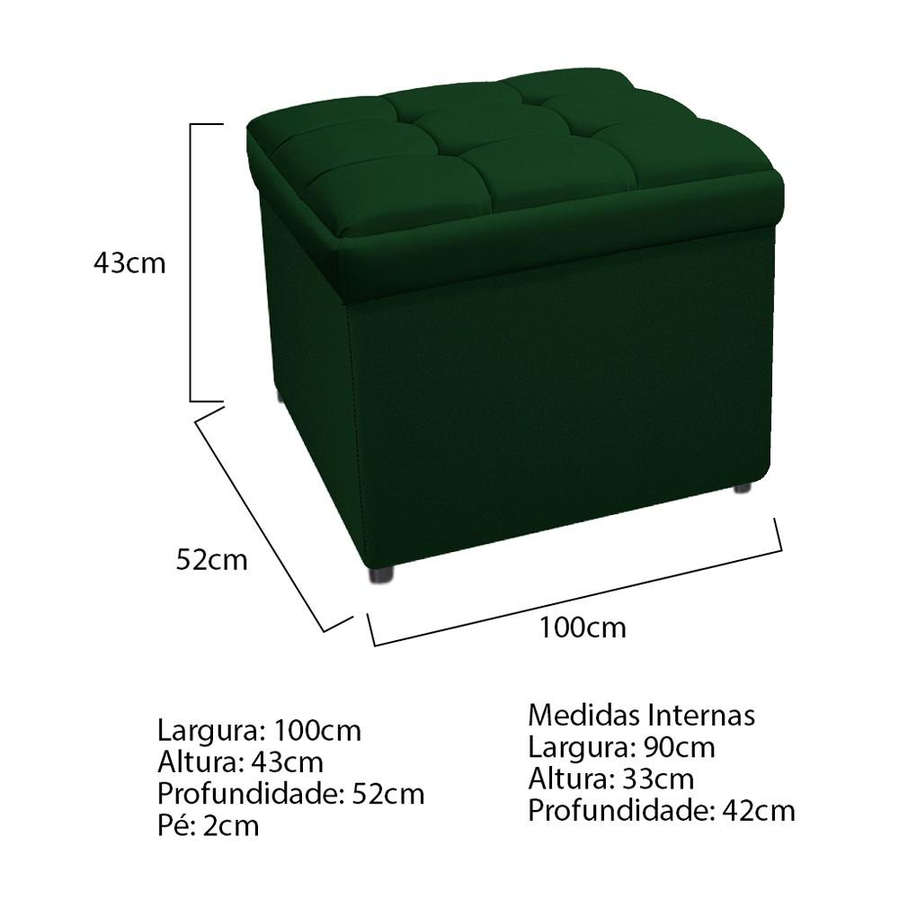 Calçadeira Copenhague 100 cm Solteiro Suede Verde - ADJ Decor