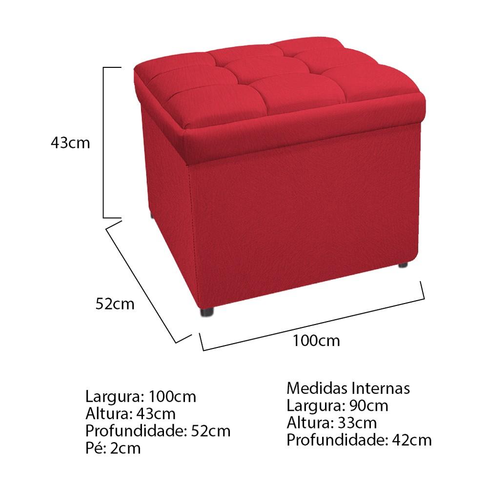 Calçadeira Copenhague 100 cm Solteiro Suede Vermelho - ADJ Decor
