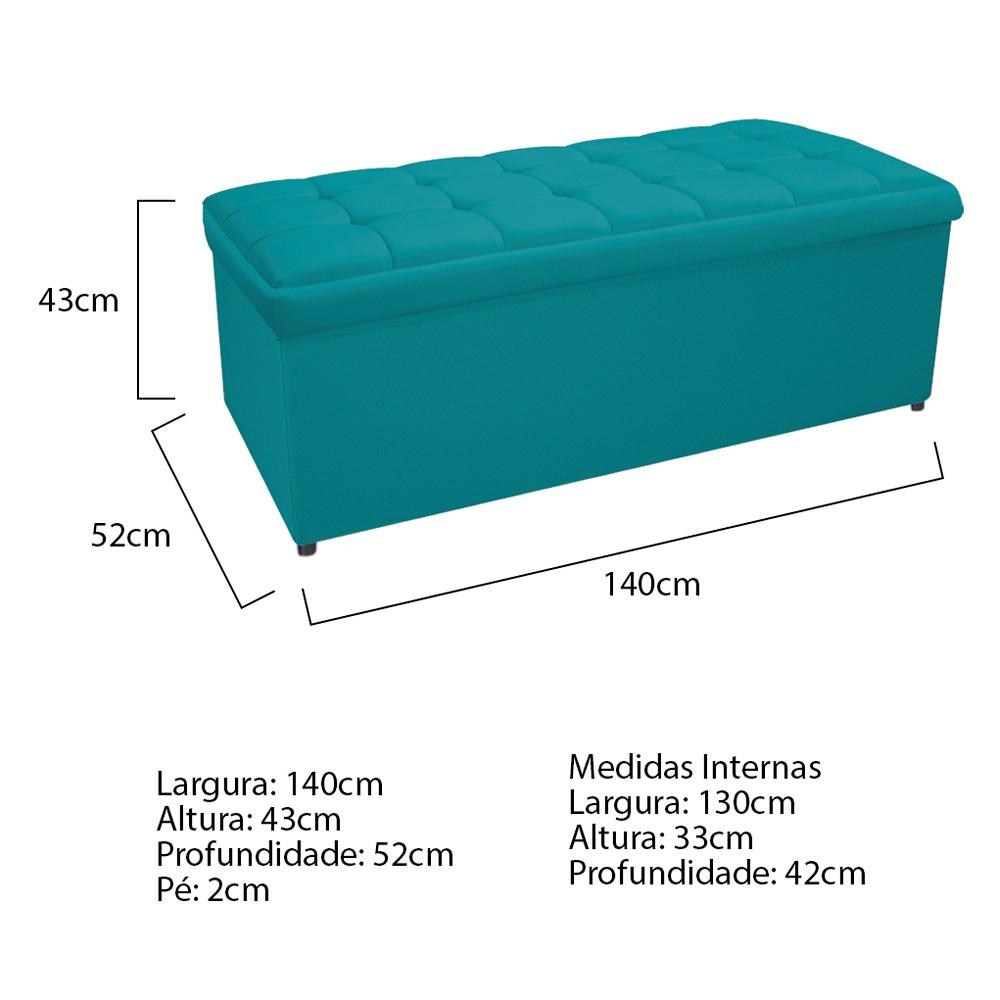 Calçadeira Copenhague 140 cm Casal Suede Azul Turquesa - ADJ Decor