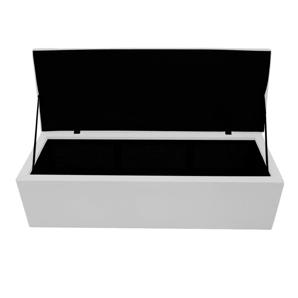 Calçadeira Copenhague 140 cm Casal Suede Branco - ADJ Decor