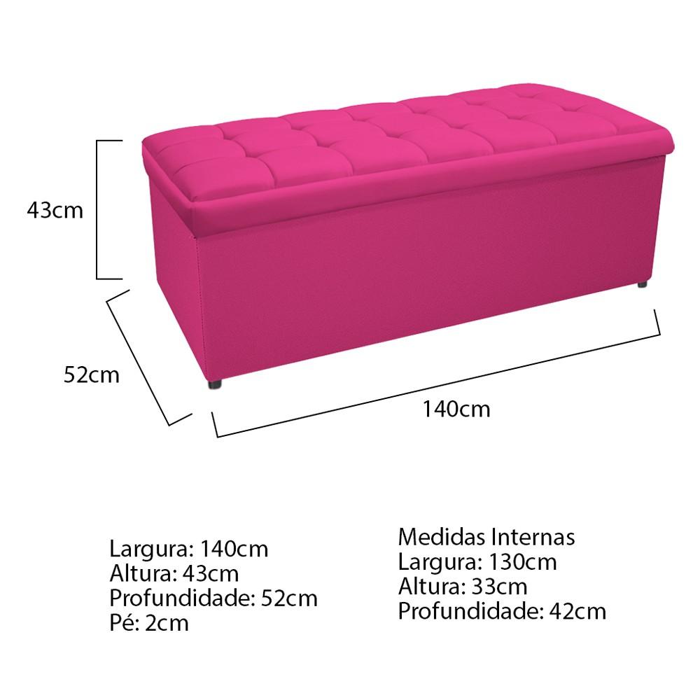 Calçadeira Copenhague 140 cm Casal Suede Pink - ADJ Decor