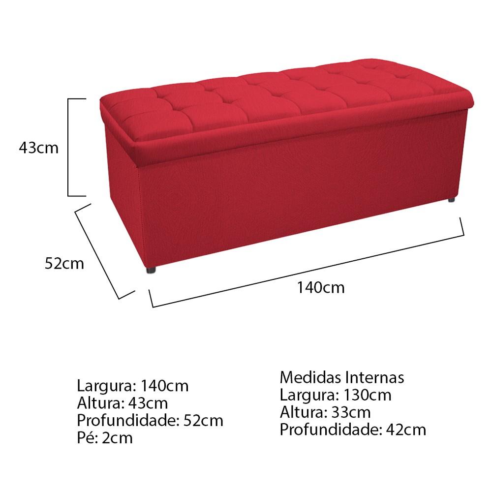 Calçadeira Copenhague 140 cm Casal Suede Vermelho - ADJ Decor