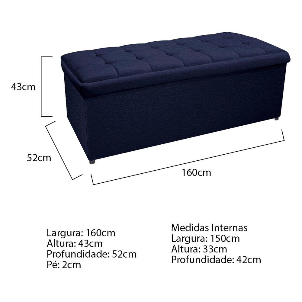 Calçadeira Copenhague 160 cm Queen Size Corano Azul Marinho - ADJ Decor