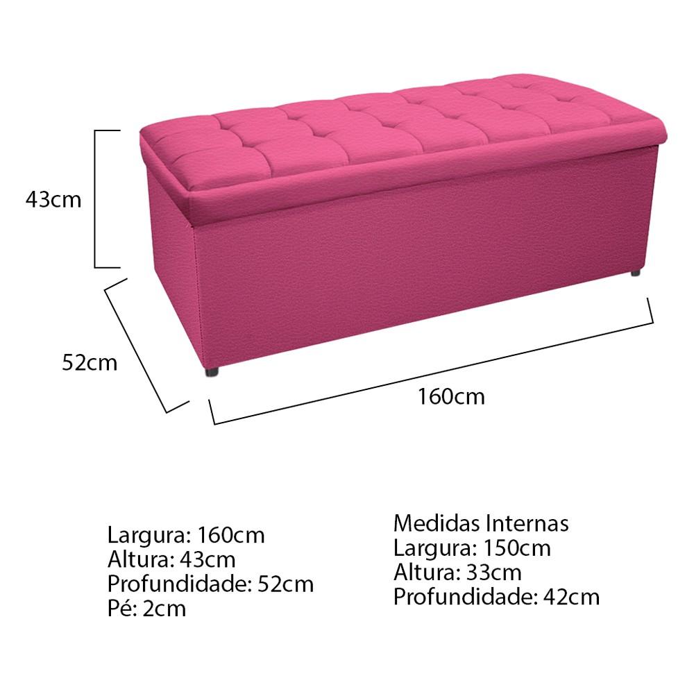 Calçadeira Copenhague 160 cm Queen Size Corano Pink - ADJ Decor